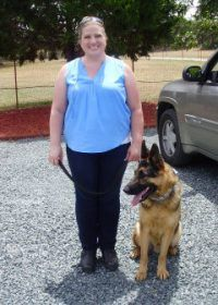 Karen with Archer for advanced obedience