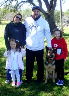 Huff Family with Ruby for Advanced Obedience Training