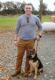 Justin with Ariya 6-month-old GSD