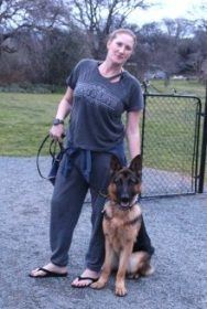 Erica with Hudsyn, a 10-month-old GSD